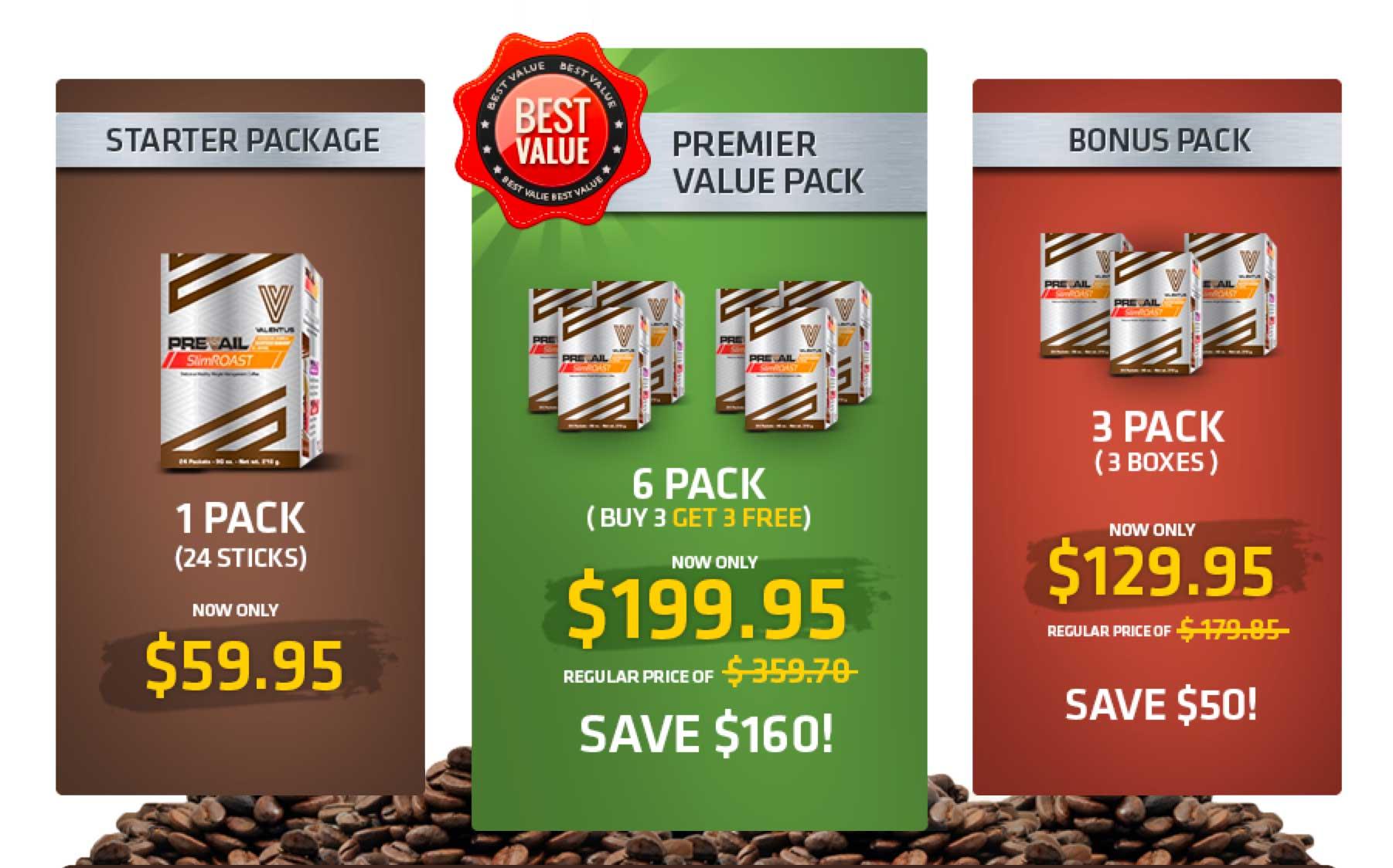 Valentus Prevail SlimROAST coffee pricing