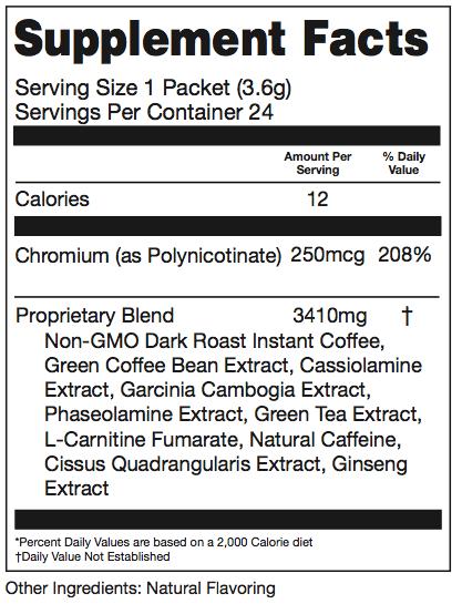 Prevail SlimROAST coffee ingredients
